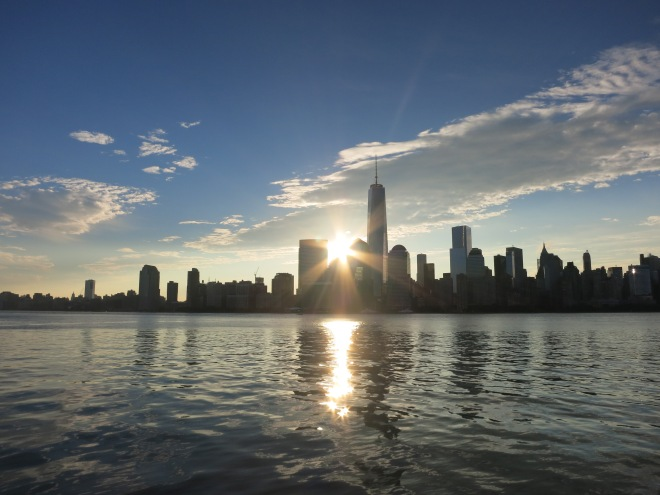 Sunrise over lower Manhattan captured in late August.